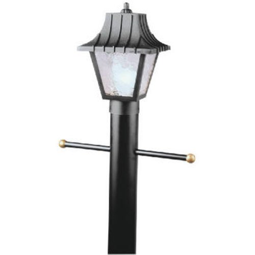 Westinghouse Lighting 6687500 One-Light Hi-Impact Polycarbonate Post-Top Exterior Lantern, Black Finish with Clear Textured Acrylic Panels