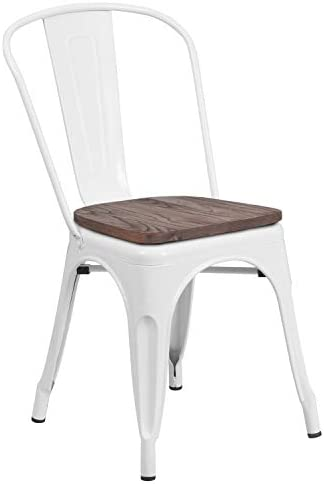 Taylor Logan Metal Stackable Chair with Wood Seat, White