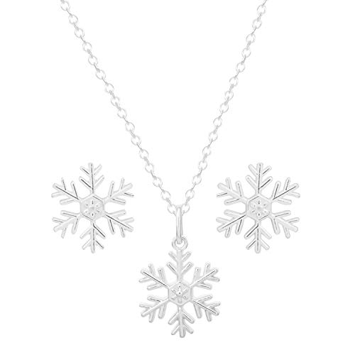 (Disney Frozen Jewelry Sterling Silver Snowflake Pendant Necklace and Stud Earring Set, 18
