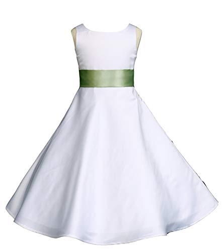 Wedding Pageant White A-Line Matte Satin Jr. Bridesmaid Flower Girl Dress (18, White/Sage)