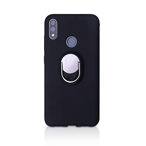 BLU VIVO XI+ Case, Rotating Ring [ 360°Kickstand ] Soft Slim TPU [ Ultra-Thin ] Protection Cases Cover Compatible with [ Magnetic Car Mount ] for BLU VIVO XI+ (Black)