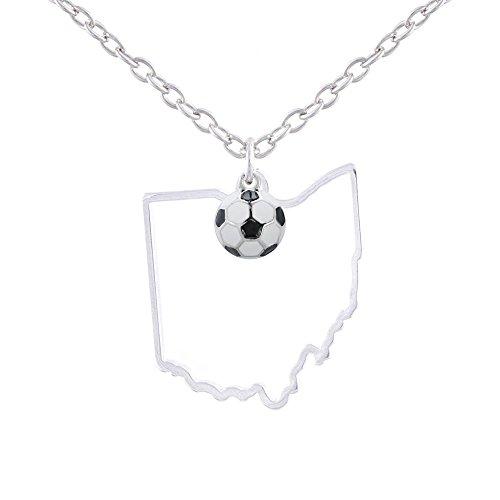 GIMMEDAT State of Mine: Ohio Soccer Enamel Necklace ()