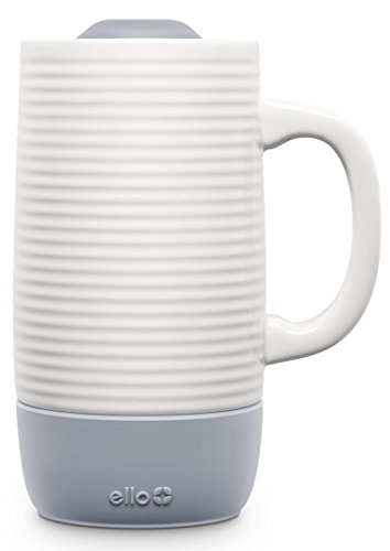 Ello Jane Ceramic Travel Mug with Slider Lid, 18 oz, Grey