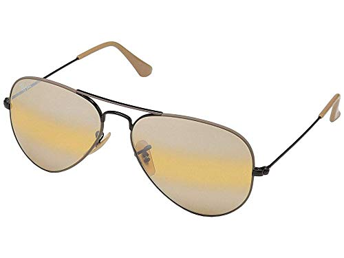 RAY-BAN RB3025 Aviator Large Metal Sunglasses, Black & Matte Beige/Yellow Gradient Mirror, 55 mm by RAY-BAN