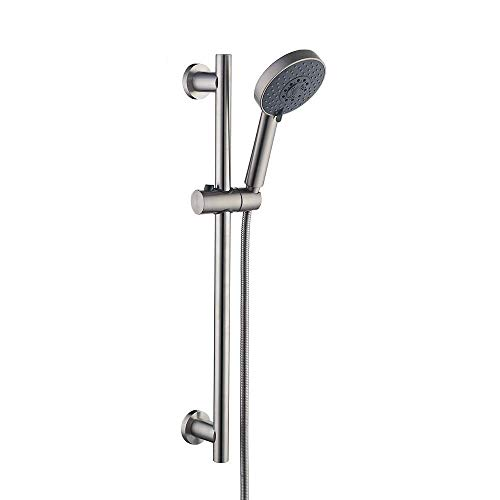 KES Slide Bar with Handheld Shower Head Hand Shower Hose Holder Adjustable 5-Function Massaging Sprayer Brushed Finish, F204DG-BS+KP501B-BN