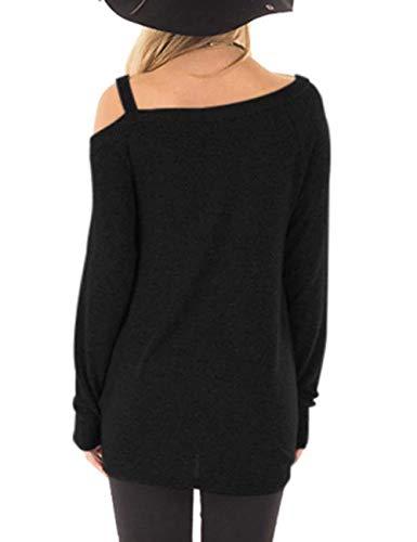 camicetta in Feelingirl maniche maglione xxl Casual nero Top donna Top colletto tunica sciolto camicia tondo lunghe S pizzo qRPRB1