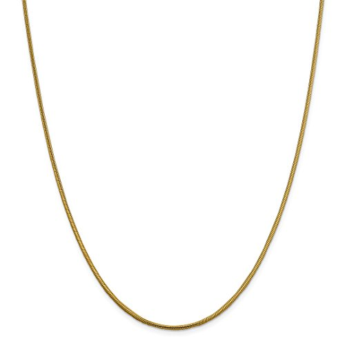 Snake Chain 20 Round (14k Yellow Gold 1.85mm Round Snake Chain Necklace 20 Inch Pendant Charm Fine Jewelry For Women Gift Set)