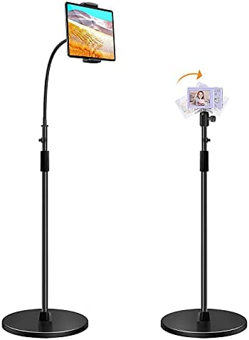 WEDIOU Tablet Floor Stand with Adjustable Height,Cellphone (5.4-10.5'')Stand and holder 360 Degree Rotation with Gooseneck long Arm,micro projector&camera Floor Stand with ball head(max load 8.82 lb)