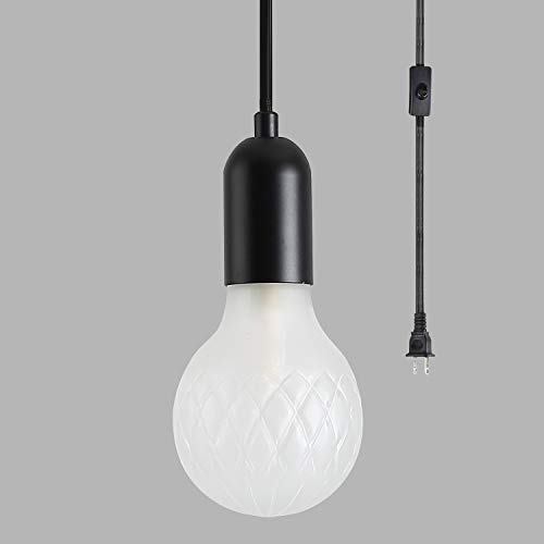 Modern Swag Hanging Lights with Plug in Cord and On/Off Switch, G9 Frosted Glass Mini Pendant Lamp for Kitchen Island Bedroom Outdoor, Matte Black Finish