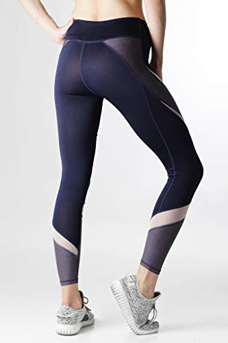 BAYSYX - Women's Workout Leggings in 16 Unique Patterns, Prints & Colors | Premium Construction for Fitness or All Day Comfort & Fashion | Compression Support (94079 Navy/Nude, XL)
