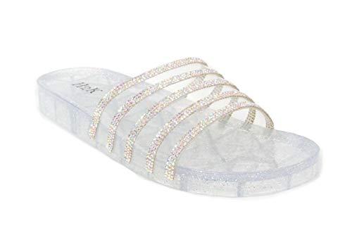 H2K Women's Crystal with Rhinestone Bling Glitter Open Toe Slide Sandal Flat Jelly Shoes Sunny (8 B(M) US, Silver) ()