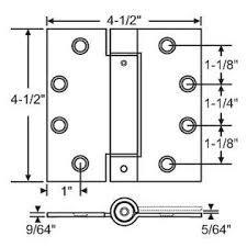 S. Parker Self Closing Slim Spring Hinges 4-1/2'' X 4-1/2'' For Medium And Heavyweight Metal Or Wood Doors In (Set Of 3 Hinges) (Satin Brass)