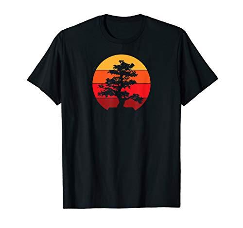 Pacific Ocean Beach Bonsai Tree Sun Retro Vintage T-Shirt ()