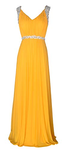 Conail Coco Women's Tulle Beading A-Line Bridesmaid Prom Dresses Long Cocktail Evening Gowns (XLarge,98yellow)