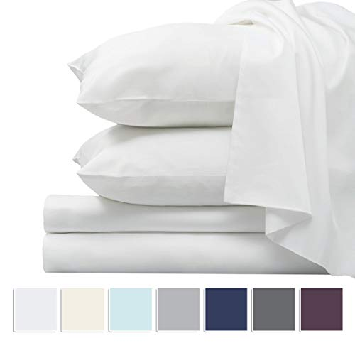 Pizuna 1000 Thread Count Sheet Set, 100% Long Staple Pure Cotton White Queen Sheets, Luxurious Smooth Sateen Weave Breathable Sheets fit Upto 16 inch Deep Pockets (White Queen 100% Cotton - 1000 Thread White