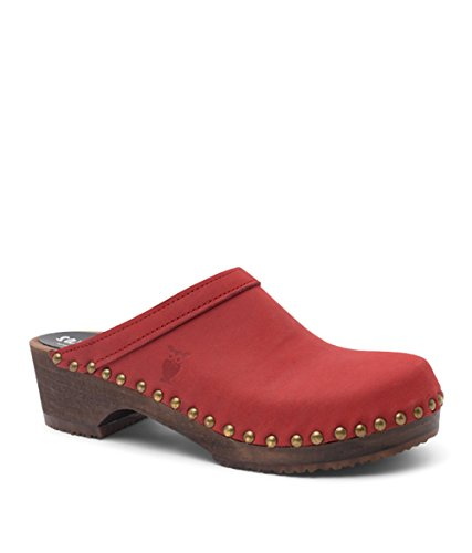 Swedish Low Heel Wooden Clog Mules for Women | Athens by Sandgrens Red ojJEfuRGF4