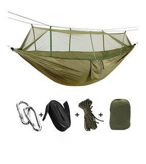 lightlamp Outdoor parachute cloth hammock with mosquito net ultralight nylon double army green camping sky tent by lightlamp