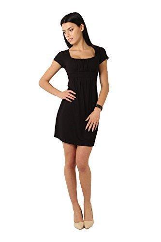 lgant FUTURO Robe FASHION Courte Carr Manche Noir Femmes 8944 Empire Mini Col rrA5wxSF