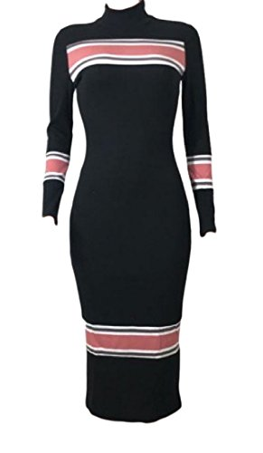 Bodycon Hi Elegant Women Length Mid Dress 3 Coolred Knit Neck Stripe Fit qF45cxcRwH