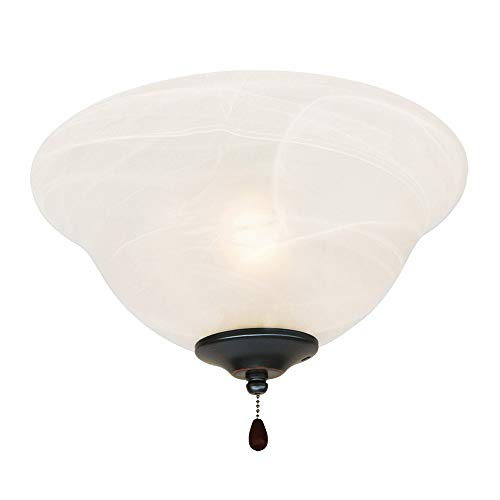 Alabaster Bowl Light - Design House 154211 3 Light Ceiling Fan Light, Oil Rubbed Bronze