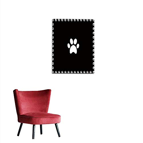 longbuyer Wall Sticker Decals White Animal Pawprint icon Framed with paw Prints Square Border Mural 20