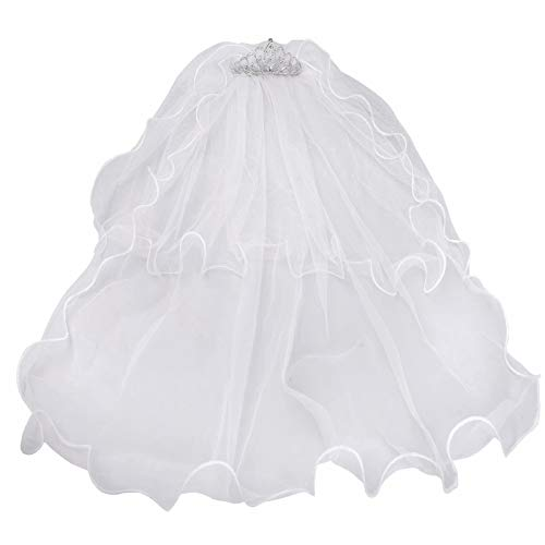 Girls First Communion White Veil with Crystal Crown Flower Girls 2 Layers Lace Veil Bridal Veil Headband for Wedding Party -
