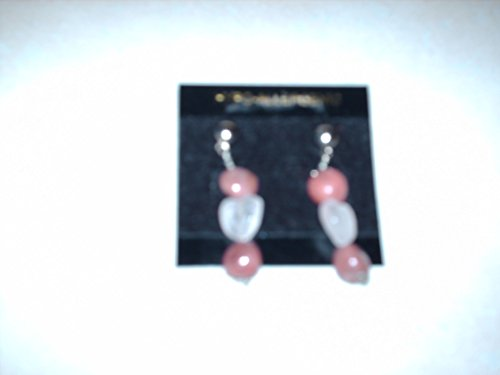 natural rodonite pebble and rose quartz heart gemstone sterling silver dangle earrings