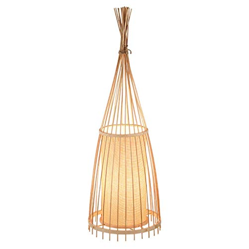 (Vintage Bamboo Floor Lamps, Antique Creative LED Linen Lighting Village Decorative Standing Lamp Modern Cafe Restaurant Living Room Floor Table Light (Size : 3091cm))