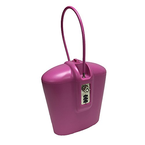 SAFEGO PINK004 Portable Indoor/Outdoor Lock Box Safe with Key and Combination Access, Pink