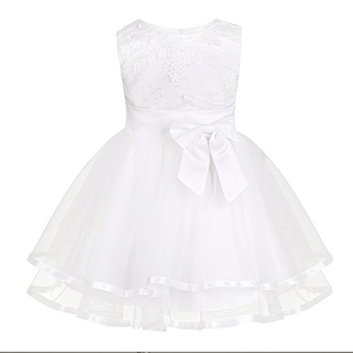 Agoky Baby Kids Princess Embroidered Birthday Party Wedding Bridesmaid Tutu Dresses Ivory 9-12 Months (Fancy Panties Baby)