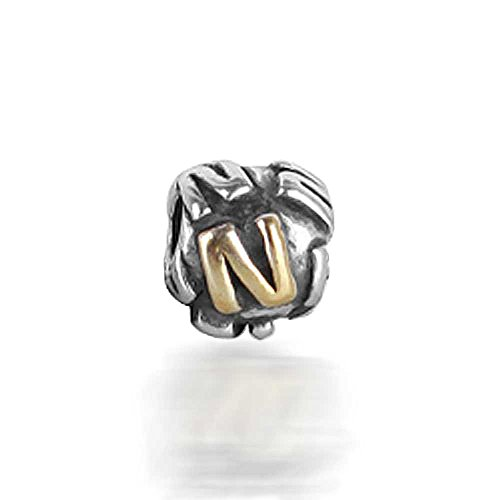 Bling Jewelry 925 Sterling Silver Letter N Alphabet Bead Screw Core Fits Pandora