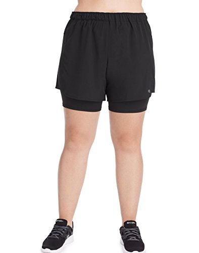 Champion Women's Plus Size Woven 2 in 1 Short, Black, 4X (Mesh Womens Shorts 1 Champion)