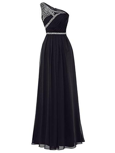 black one strap bridesmaid dresses - 5