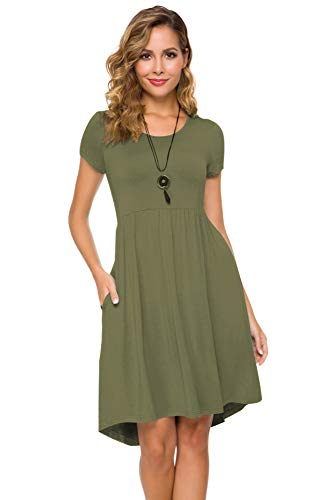 Women's Short Sleeve Flare Midi Dress Summer Loose Casual Swing Dress with Pockets in Dot and Floral (XXL, Army Green)