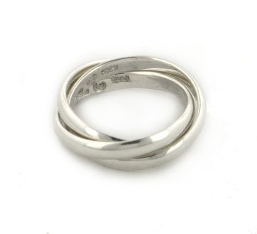 Sterling Silver 3 Band Russian Wedding Ring Size 5(Sizes 4,5,