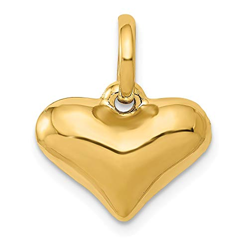 Heart Hammered Mm 14 - 14k Yellow Gold Hollow Puffed Heart Charm or Pendant, 14mm