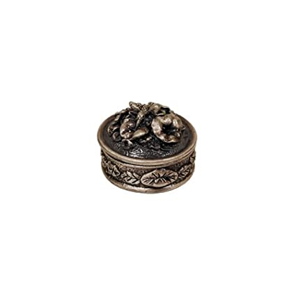 Hummingbird with Flowers Round Pewter Jewelry Box by GiftsOGifts PJ-746