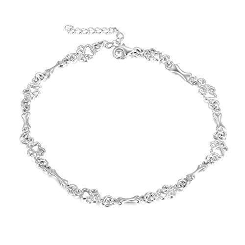 LUHE 925 Sterling Silver Dog Bone Paw Print Bracelets for Women Girls (Silver) (Paw Bone anklets) Cat Sterling Silver Anklet