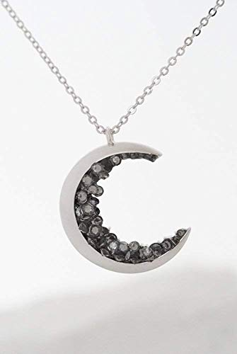 (Silver Plated Crescent Moon Encrusted With Black Crystals Jewels Long Necklace)