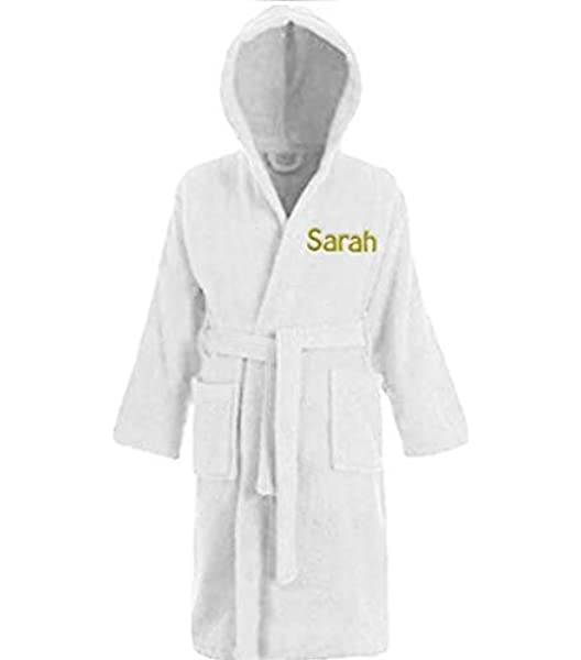 Ages 2 to 12 Harlequin Designs Personalised Childrens Hooded Toweling Bathrobe Hot Pink