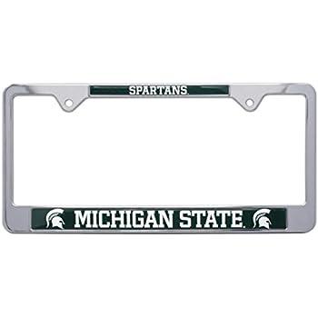 all metal ncaa mascot license plate frame michigan state - Michigan State License Plate Frame