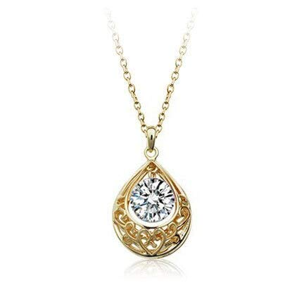 ACCTSY New Crystal Droplets Classical Pattern Vintage Retro Jewelry Zirconia Pendants Necklace Fashion for Women Gold White (Pattern White Gold Necklace)