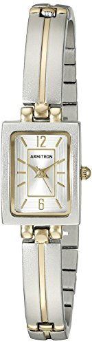 Armitron Women's 75/5331SVTT Rectangular Shaped Two-Tone Bangle Watch - Womens Rectangle Bangle Watch