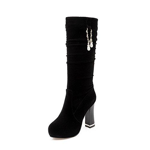 verre Heels à et Noir Chunky en Bottes diamant dépoli plateforme N Womens A qwX6anvC6
