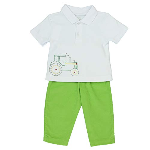 Petit Ami Baby Boys' Embroidered Tractor Polo Shirt & Pants Set, 18 Months, Green ()