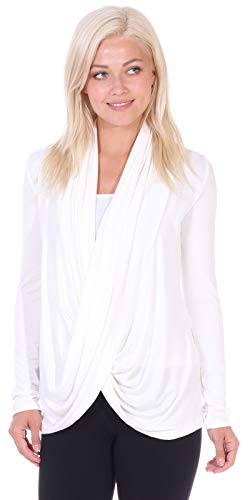 Popana Womens Casual Long Sleeve Criss Cross Fall Cardigan Plus Size Made in USA Small Pearl