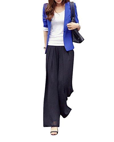 Vita Larga Eleganti Pantaloni Puro Trousers Nero Gamba Alta Mengmiao Colore Donna Sciolto xntYqF
