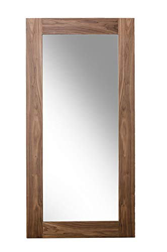 - HomeRoots Veneer, MDF, Glass Modern Walnut Floor Mirror