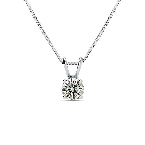 Sparkle Bargains 14K White Gold 3/4 Carat Solitaire Diamond Pendant Necklace (K-L, I2-I3) AGS Certified With Free Chain, 18 Inches