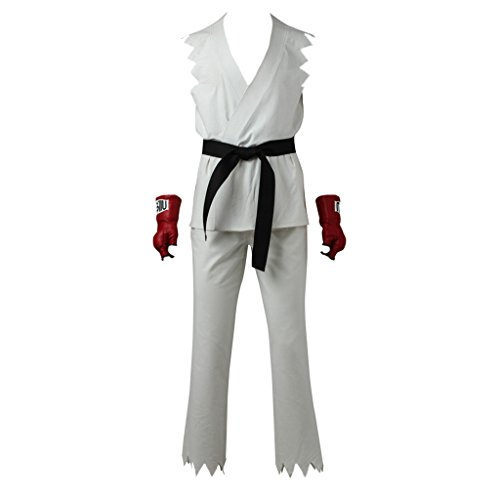 CosplayDiy Men's Suit for Street Fighter V Ryu Cosplay Costume with Gloves L -